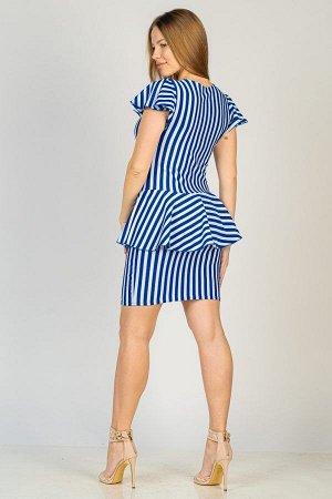 Платье с баской П 260 (Васильковая полоса)