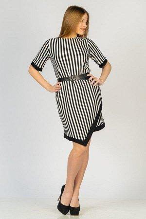 Платье с углом на подоле П 045 (Черно-белый)