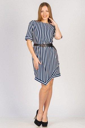 Платье с углом на подоле П 045 (Синяя полоса)