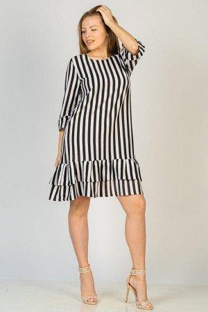Платье с воланами П 266 (Черная полоса)