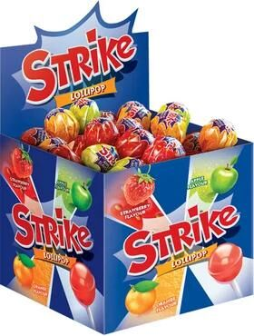 Карамель на палочке Strike, ассорти, 11 г (упаковка 50 шт.)