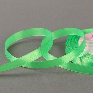 Лента атласная, 10 мм ? 23 ± 1 м, цвет зелёный №130