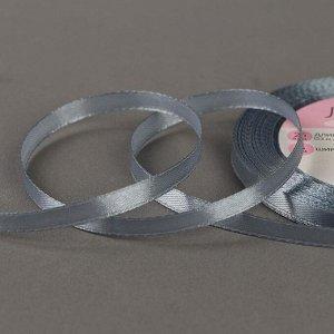 Лента атласная, 6 мм ? 23 ± 1 м, цвет серый №03