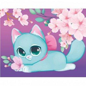 Алмазная мозаика для детей «Милый котик и сакура» 20х25 см
