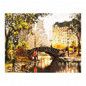 Роспись по холсту «Городской парк» по номерам с красками по3 мл+ кисти+инстр-я+крепёж, 30?40 см