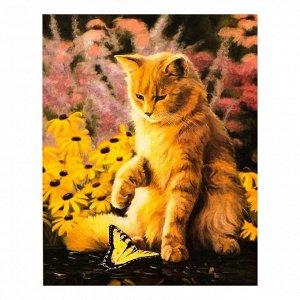 """Роспись по холсту """"Кот с бабочкой"""" по номерам с красками по 3 мл+ кисти+крепеж 30*40"""