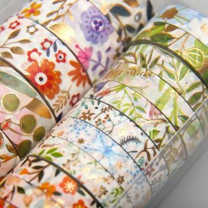 "Клейкая лента бумага ""Цветы"" набор 18 шт ширина 0,8;1,5 см длина 3 метра 9,5х7х3,5 см"