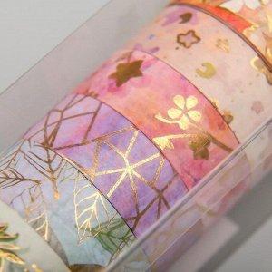 """Клейкая лента бумага """"Цветы с золотом"""" набор 6 шт ширина 1,5 см длина 5 м 4,5х4,5х15,7 см"""
