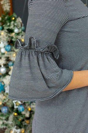 Платье с рукавом фонарик П 255 (Полоса)