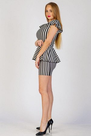 Платье с баской П 260 (Черная полоса)