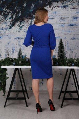 Платье-миди с объемными рукавами П 026 (василек)