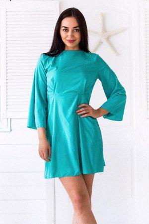Легкое платье с расклешенными рукавами и вырезом с зап?хом на спине П 126 (ментол)