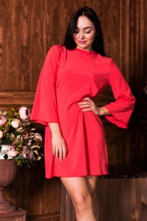 Легкое платье с расклешенными рукавами и вырезом с зап?хом на спине П 126 (коралл)