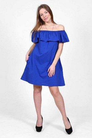 Платье с воланом и открытыми плечами П 078 (Василек)