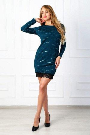 Платье с пайетками П 184 (Изумруд)