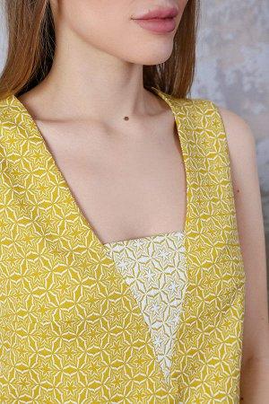 Платье трапеция со вставкой на груди П 210 (Желтое)