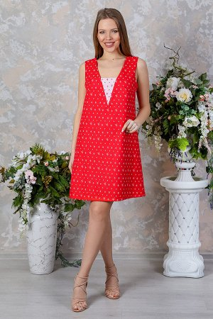 Платье трапеция со вставкой на груди П 210 (Красное)