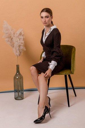 Классическое платье П 1002 (Коричневое)