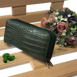 Оригинальный женский кошелек Jardani из эко-кожи цвета зелёного опала на две молнии