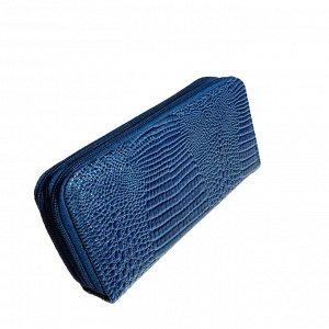 Оригинальный женский кошелек Elevation из эко-кожи небесно-голубого цвета на две молнии.
