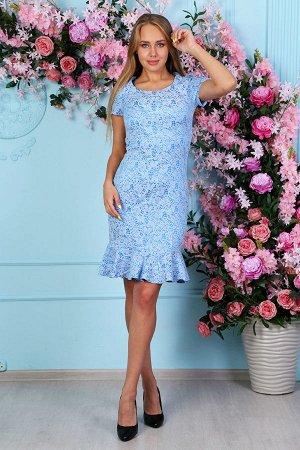 Жаккардовое платье с воланом П 220 (Голубое)