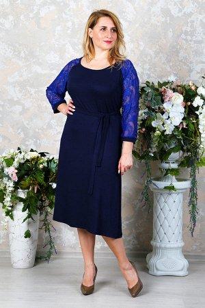 Платье с гипюром П 216 (Т.синий)
