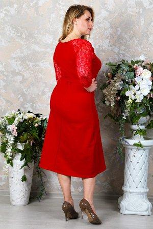 Платье с гипюром П 216 (Красный)