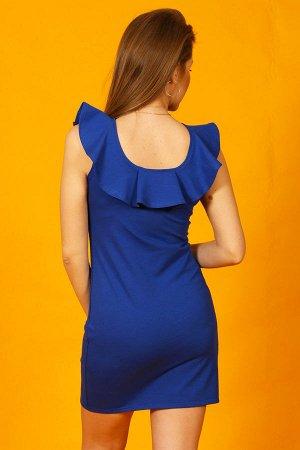 Платье с воланом по горловине П 106 (василек)
