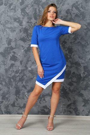 Платье с углом на подоле П 045 (василек)