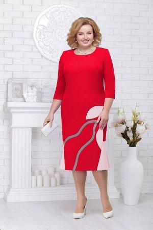 Платье Ninele 5693 красный+пудра