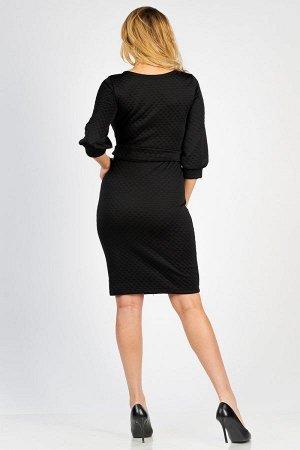Платье-миди с объемными рукавами П 281 (Черный)