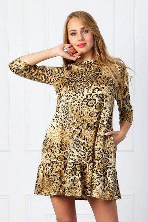 Леопардовое платье с воланом П 185 (Черно-коричневое)