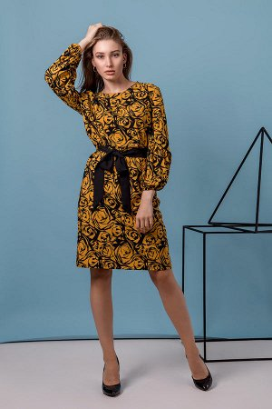Легкое платье из ткани ричи П 1001 (Горчичное)
