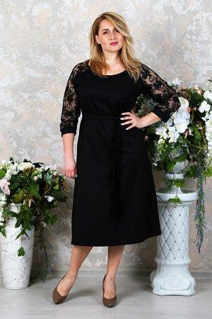 Платье футляр с гипюром П 216 (Черный)