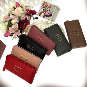 Полноразмерный женский кошелек Liker из матовой эко-кожи красного цвета