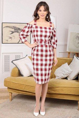 Платье Мода Юрс 2674 бордо_клетка