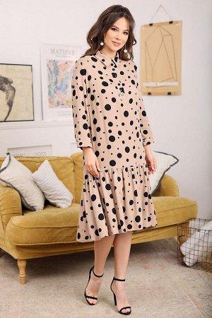 Платье Мода Юрс 2681 бежевый_горохи