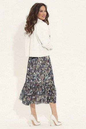 Куртка, платье Магия моды 1879 цветы+белый