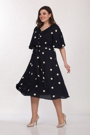 Платье, туника Lady Style Classic 2218/1 темно_синий-крупный_горох