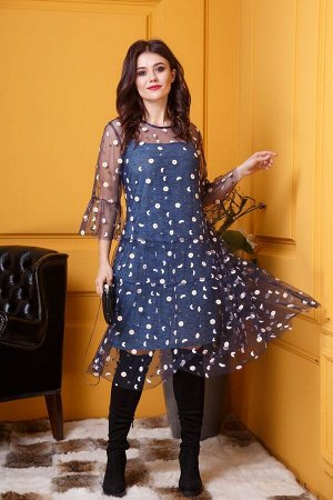 Платье Anastasia 376 синий-мелланж,сетка-синий