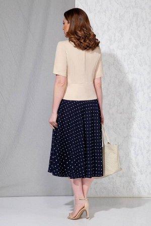 Жакет, платье Beautiful&Free 4055 беж+синий