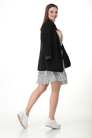 Жакет, платье, ремень T&N 7038 черный-белый_принт