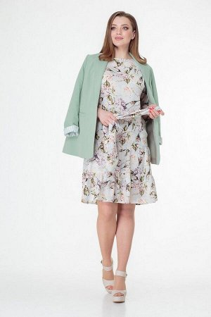 Жакет, платье T&N 7021 фисташка-голубой