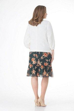 Жакет, платье VOLNA 1189 молочно-белый+темно-зеленый