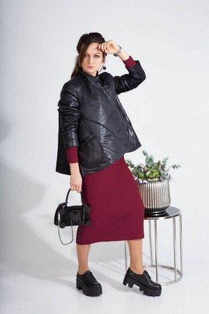 Куртка, платье ElPaiz 484 черный+бордо