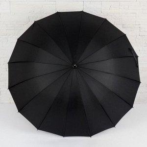 Зонт - трость полуавтоматический, 16 спиц, R = 48 см, цвет чёрный 5555405