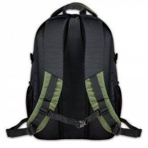 "Рюкзак для школы и офиса BRAUBERG ""StreetRacer 2"", 30 л, размер 48х34х18 см, ткань, черно-зеленый, 224450"