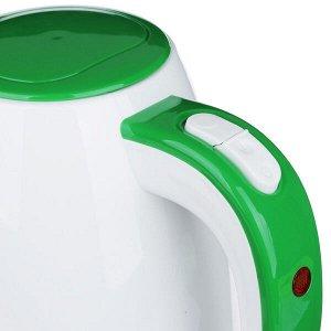 Чайник электрический 1,7л, белый/зеленый