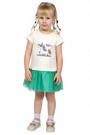Платье для девочки Л2435-5693, мятный+экрю