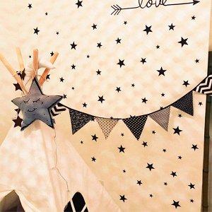 Набор многоразовых наклеек «Звезды» от 3 до 5 см (39 штук) Черные (1910)